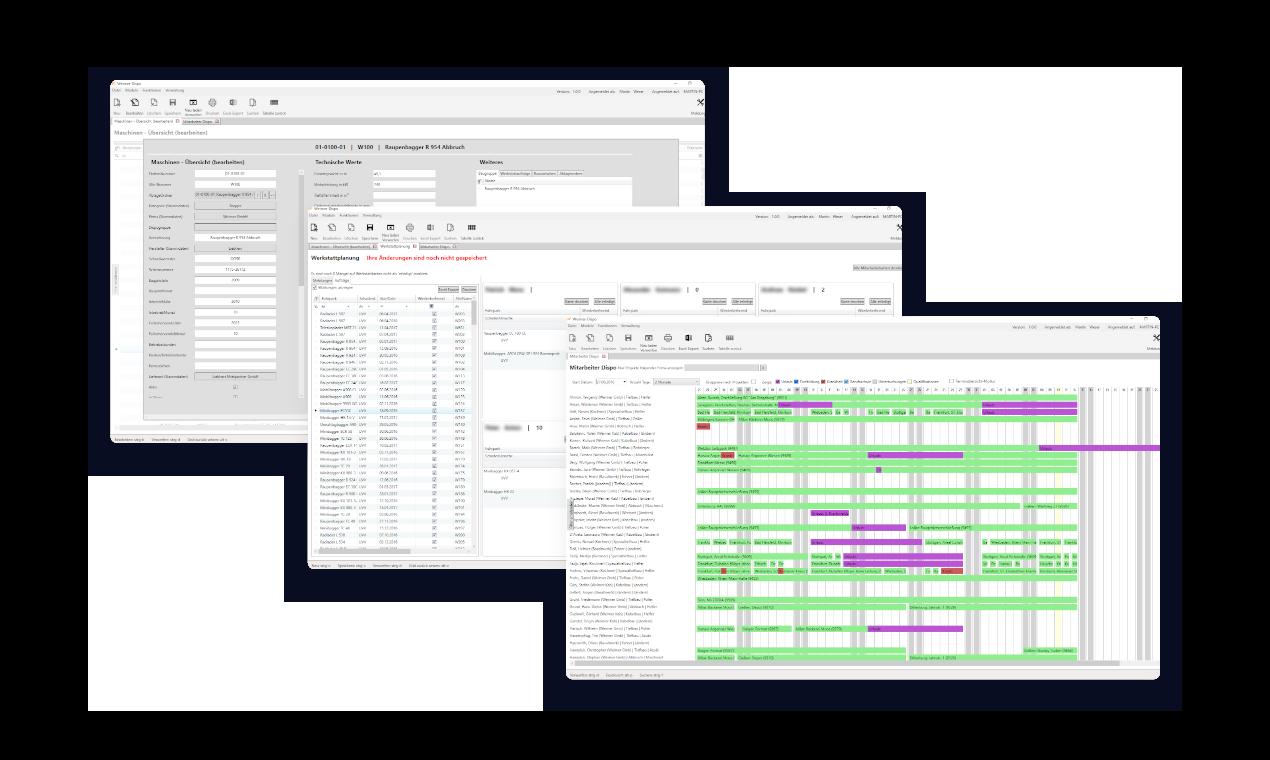 Software für Baumaschinen und Mitarbeiter Disposition